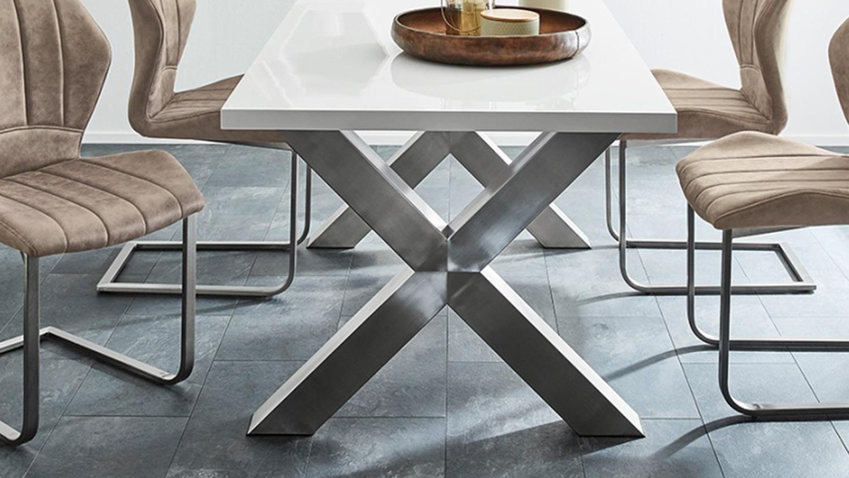 Tischgruppe Grau Tisch Und Fasto Braun Alexis In Hochglanz Stuhl Weiß 9Y2IEDWH
