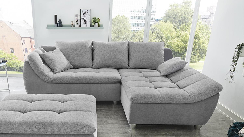 ecksofa javelin eckgarnitur l sofa stoff grau mit kissen. Black Bedroom Furniture Sets. Home Design Ideas