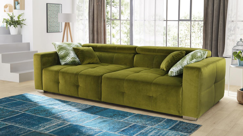 Big Sofa TRENTO Stoff samtweich grün Kopfteilverstellung