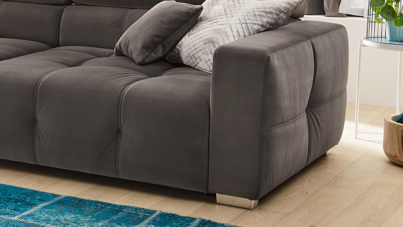 Big Sofa TRENTO Stoff samtweich grau Kopfteilverstellung
