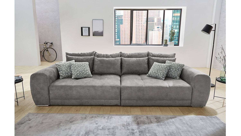 Big Sofa Moldau Xxl Couch In Microfaser Grau Mit Kissen