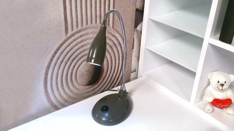 tischlampe grau schreibtischleuchte led mit schwanenhals. Black Bedroom Furniture Sets. Home Design Ideas