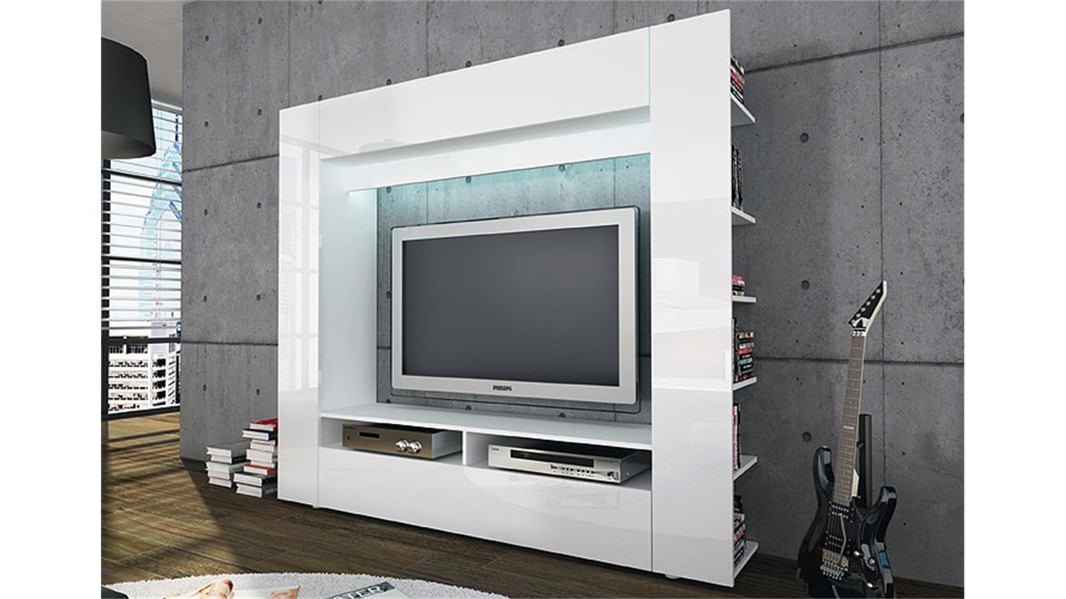 tv wohnwand medienwand olli in hochglanz wei. Black Bedroom Furniture Sets. Home Design Ideas