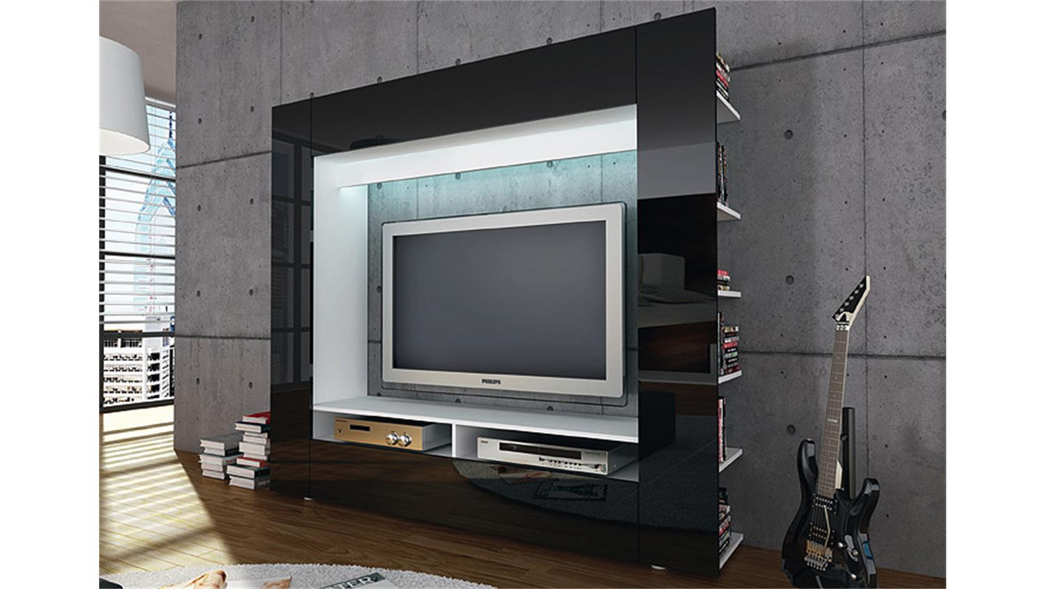 tv mediawand olli wohnwand in hochglanz schwarz. Black Bedroom Furniture Sets. Home Design Ideas