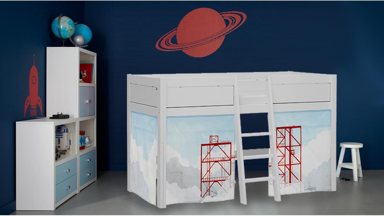 hochbett disvovery mit spielvorhang in kiefer massiv whitewash. Black Bedroom Furniture Sets. Home Design Ideas