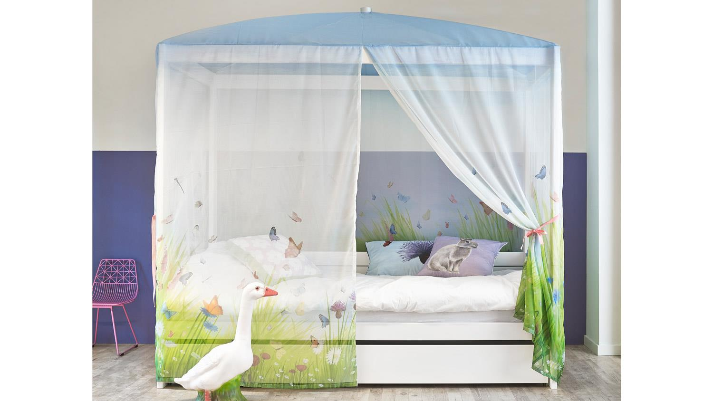 himmelbett butterfly love kinderbett mit himmel in kiefer whitewash. Black Bedroom Furniture Sets. Home Design Ideas
