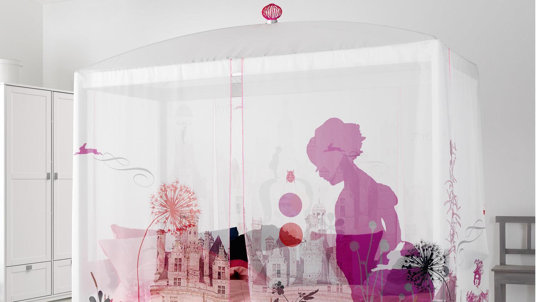 himmelbett wonderland kinderbett mit himmel kiefer massiv. Black Bedroom Furniture Sets. Home Design Ideas