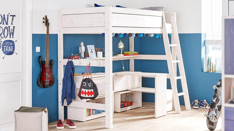 hochbett lifetime kinderbett in kiefer massiv whitewash. Black Bedroom Furniture Sets. Home Design Ideas