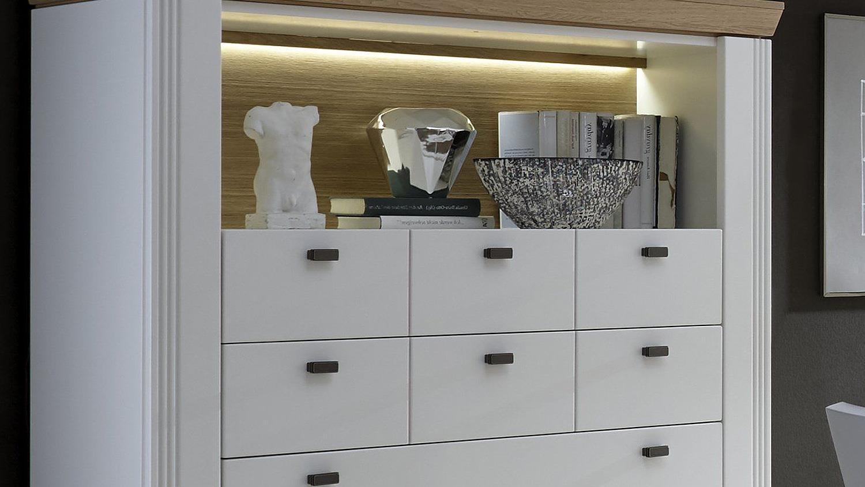 highboard boleros vitrine schrank wei lack eiche mit led. Black Bedroom Furniture Sets. Home Design Ideas