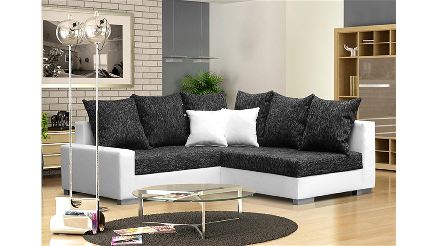 ecksofa sonya wei und webstoff dunkelgrau mit hocker. Black Bedroom Furniture Sets. Home Design Ideas