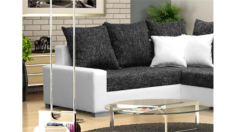 ecksofa sonya wei und webstoff dunkelgrau mit hocker. Black Bedroom Furniture Sets. Home Design Ideas