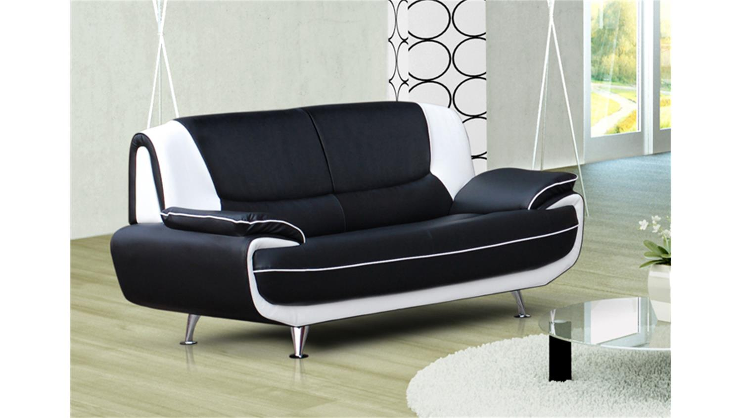 sofa palermo 3 sitzer in schwarz und wei mit metallf en. Black Bedroom Furniture Sets. Home Design Ideas