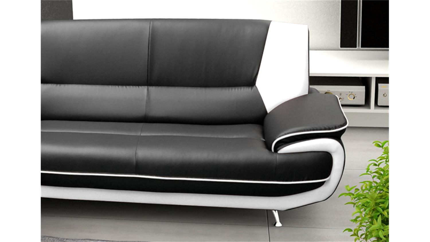 ecksofa palermo max in schwarz und wei mit metallf en. Black Bedroom Furniture Sets. Home Design Ideas