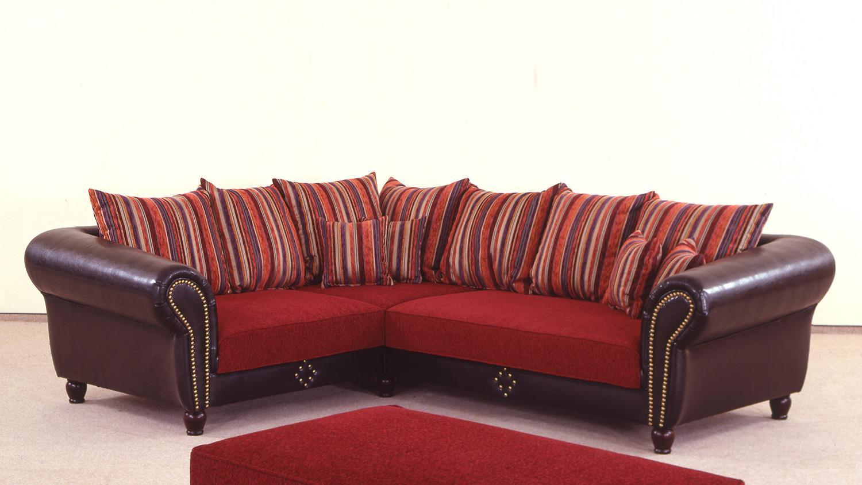 wohnlandschaft corin antik dunkel braun rot 236x284 cm. Black Bedroom Furniture Sets. Home Design Ideas