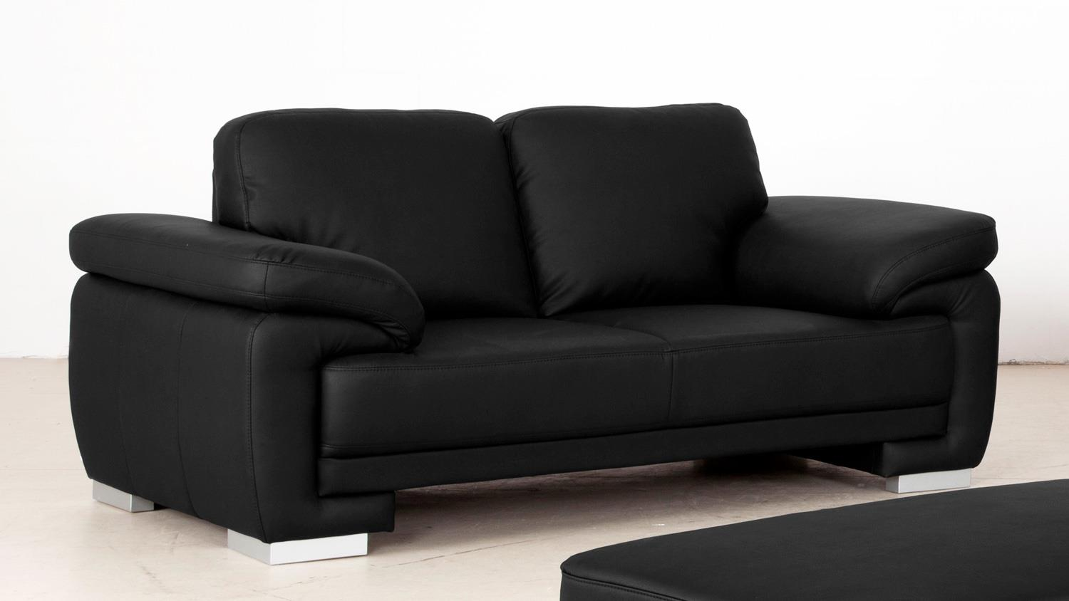 sofa laura 2 sitzer bezug schwarz f e massiv silber mit nosagfederung. Black Bedroom Furniture Sets. Home Design Ideas