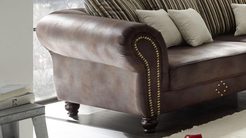 big sofa corin antik dunkel braun inkl kissen beige. Black Bedroom Furniture Sets. Home Design Ideas