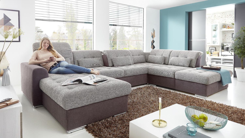 wohnlandschaft mynopoly in stoff grau braun inkl funktion. Black Bedroom Furniture Sets. Home Design Ideas