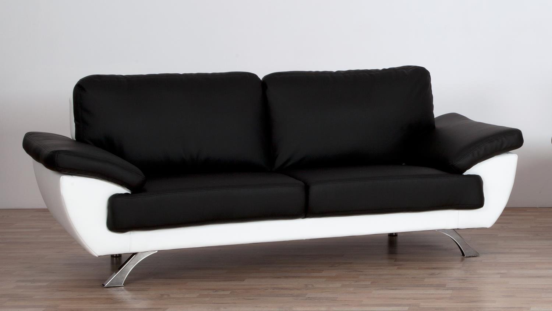 sofa gino 3 sitzer bezug in schwarz und wei mit nosagfederung 214 cm. Black Bedroom Furniture Sets. Home Design Ideas