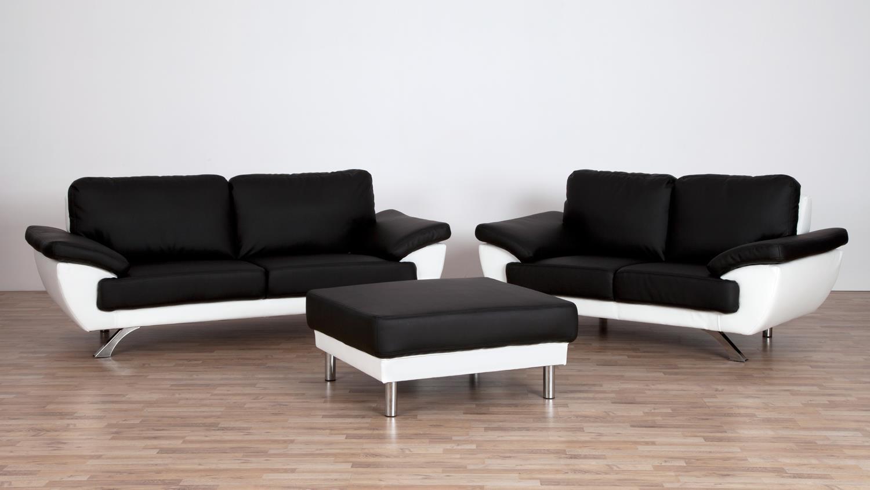 sofa gino 2 sitzer bezug in schwarz und wei mit nosagfederung 175 cm. Black Bedroom Furniture Sets. Home Design Ideas