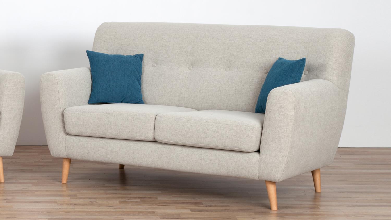 Sofa LILY 2-Sitzer Bezug Stoff beige inkl. Nosagfederung und 2 Kissen