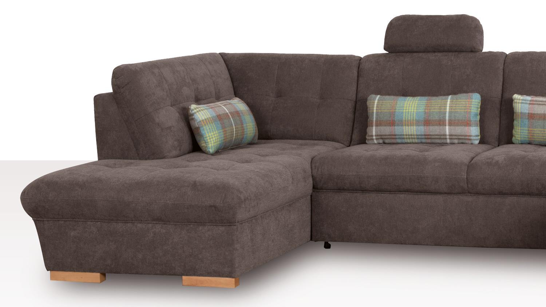 wohnlandschaft hugo in stoff stone braun grau inkl. Black Bedroom Furniture Sets. Home Design Ideas