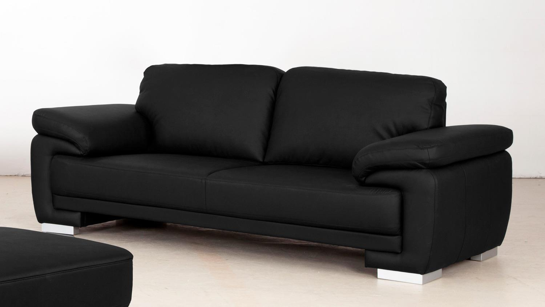 sofa laura 3 sitzer bezug schwarz f e massiv silber mit nosagfederung. Black Bedroom Furniture Sets. Home Design Ideas