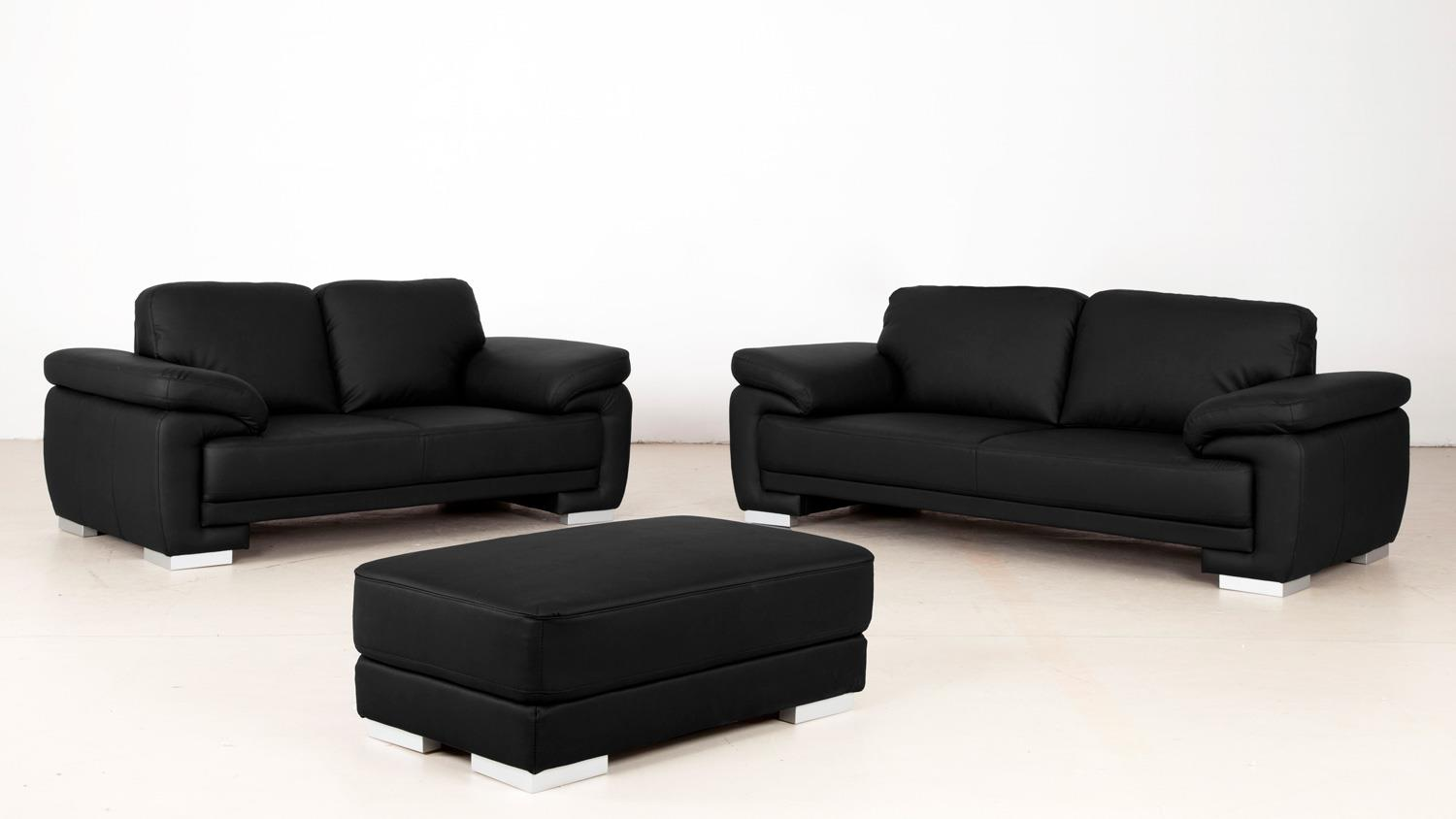 sofa laura 3 sitzer bezug schwarz f e massiv silber mit nosagfederung. Black Bedroom Furniture Sets. Home Design Ideas