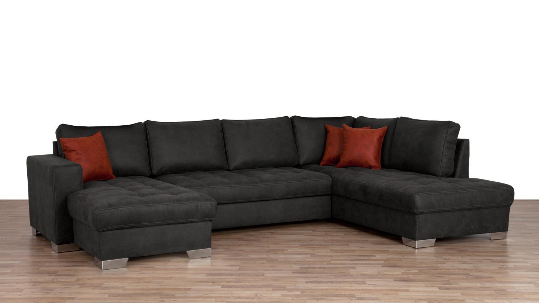 wohnlandschaft arles u form stoff mocca mit nosagfederung. Black Bedroom Furniture Sets. Home Design Ideas