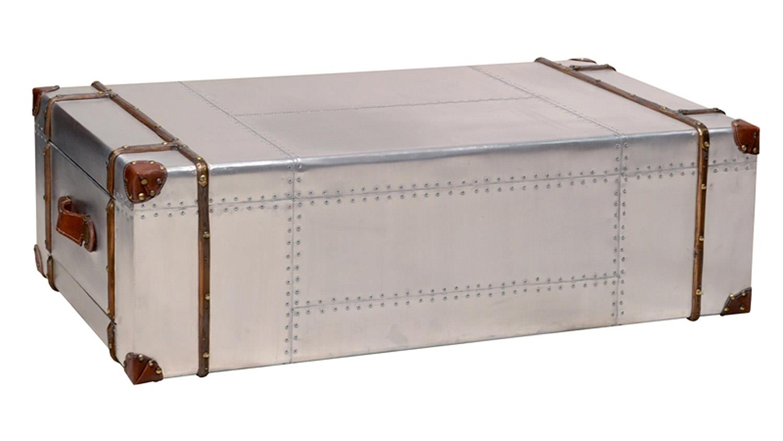 couchtisch aviators mdf wei blech koffer in edelstahloptik. Black Bedroom Furniture Sets. Home Design Ideas