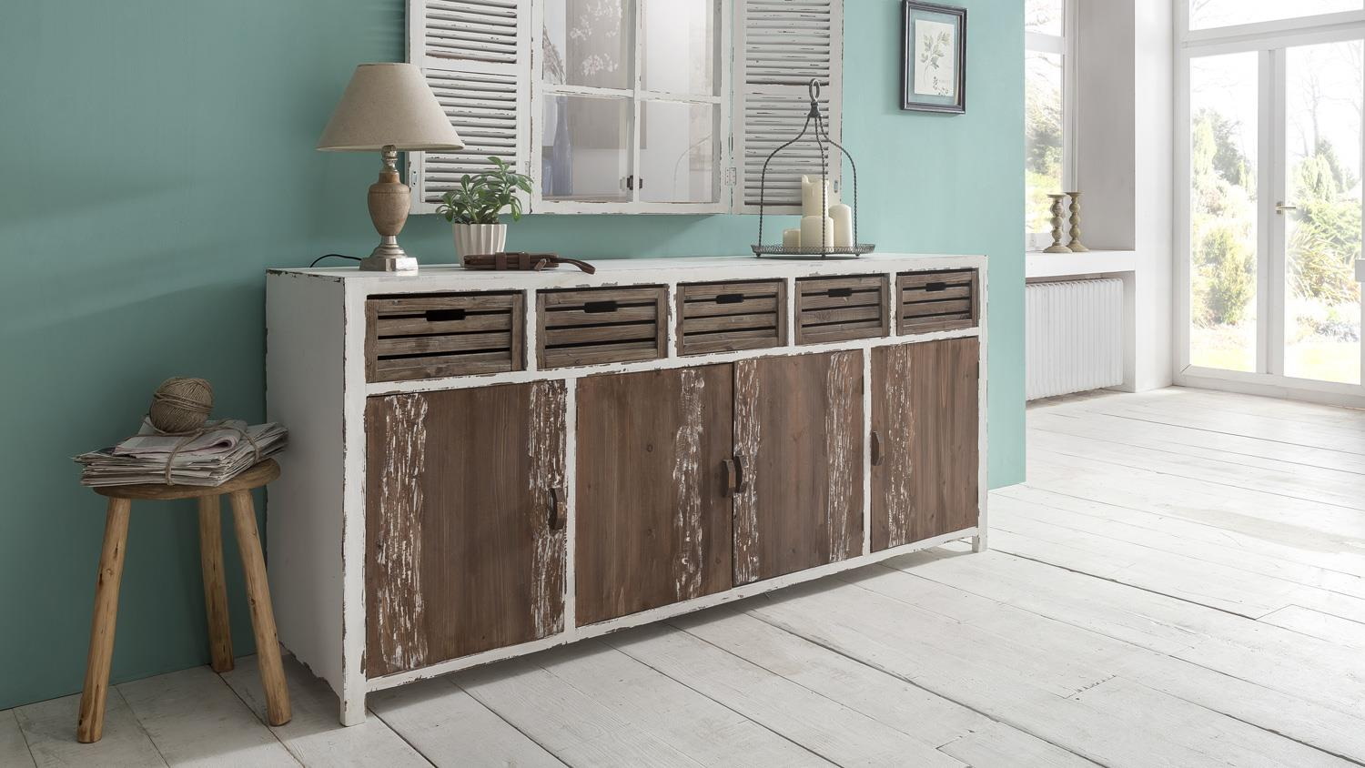 sideboard 200 cm aimann shabby chic kommode in antik wei. Black Bedroom Furniture Sets. Home Design Ideas