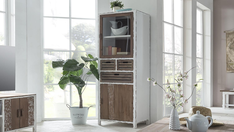vitrine aimann k chenschrank in antik wei shabby chic. Black Bedroom Furniture Sets. Home Design Ideas