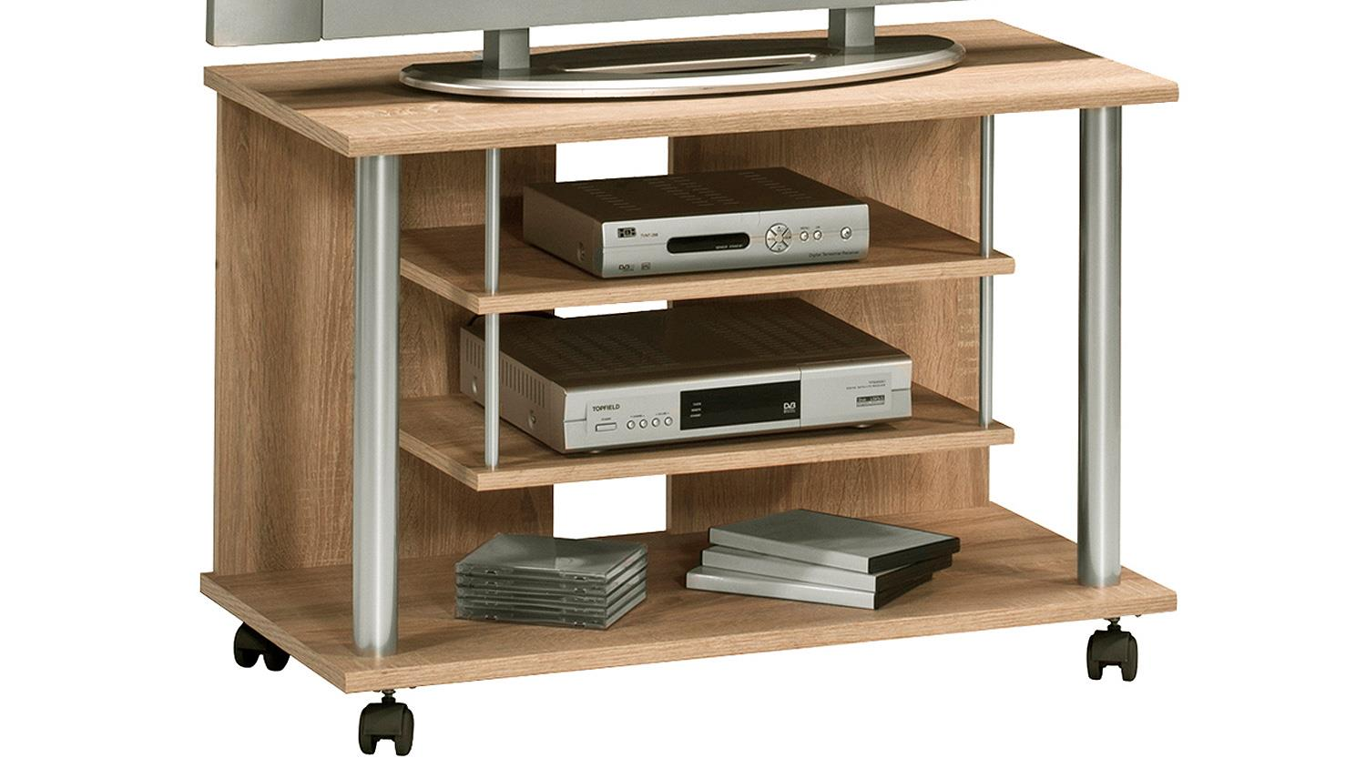 tv rack maja 1898 tv board in sonoma eiche mit rollen. Black Bedroom Furniture Sets. Home Design Ideas