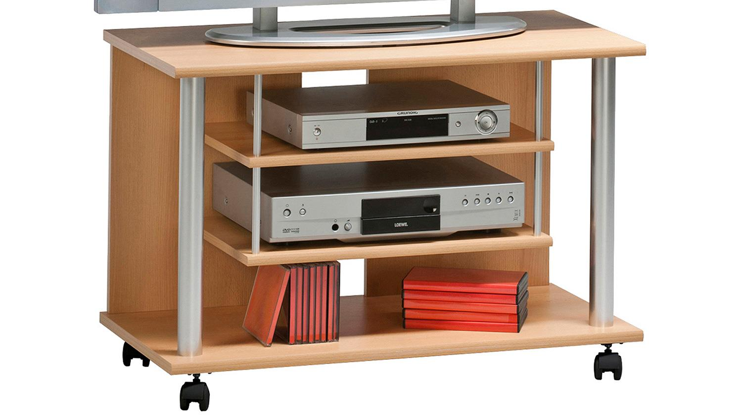 tv rack maja 1898 tv board in buche mit rollen. Black Bedroom Furniture Sets. Home Design Ideas