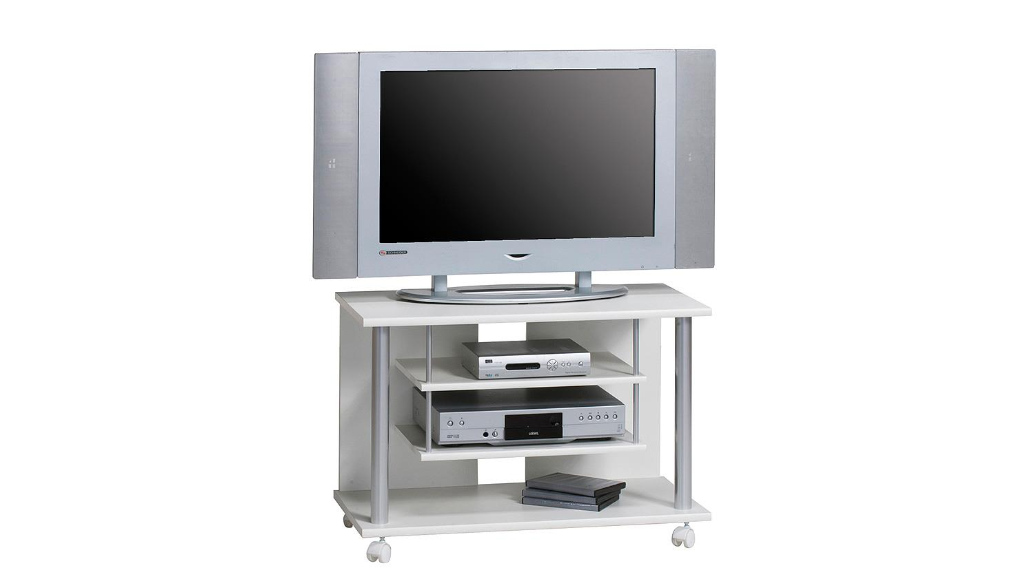 tv rack maja 1898 tv board in wei mit rollen. Black Bedroom Furniture Sets. Home Design Ideas