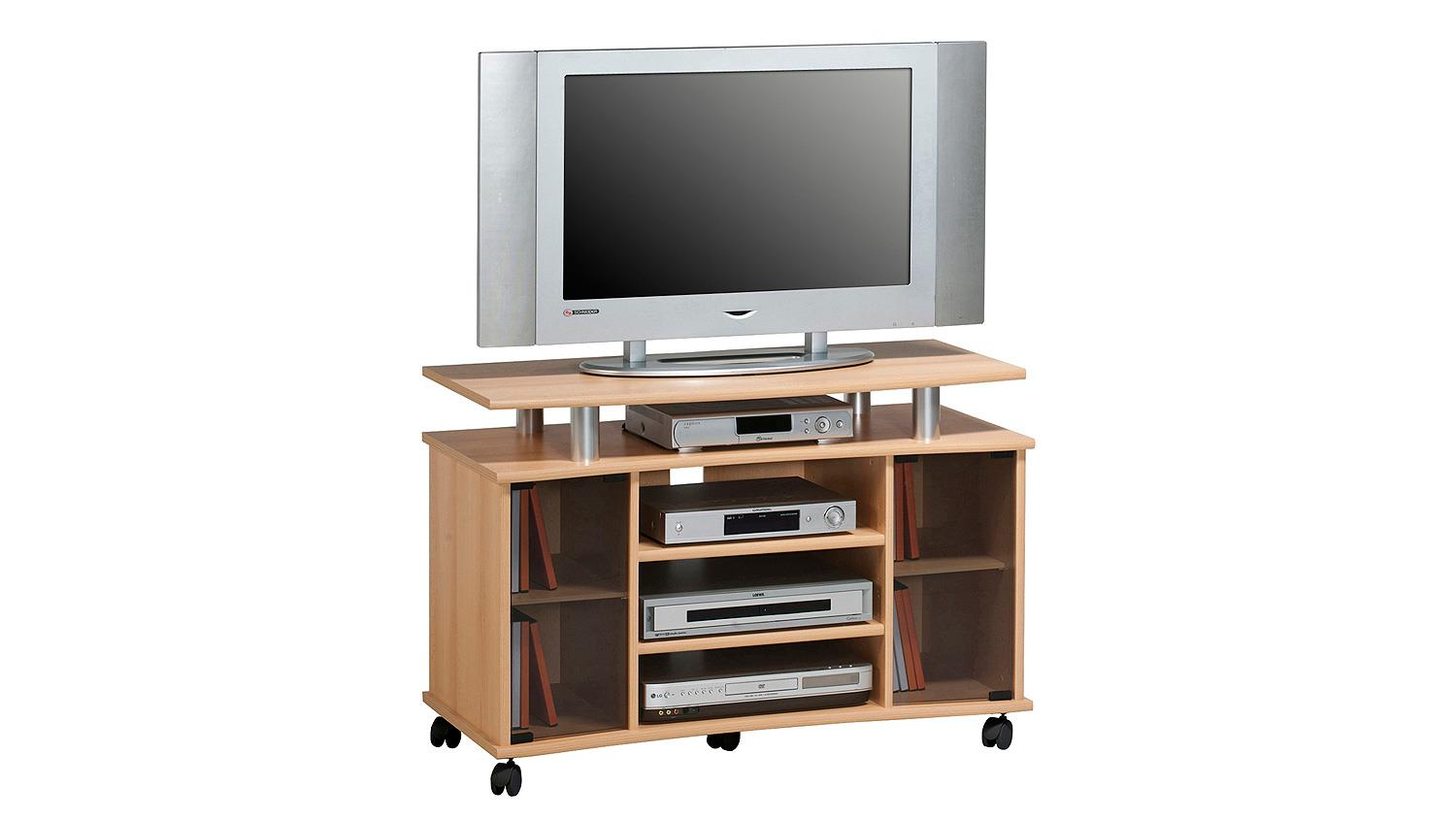 tv rack buche tv hifi rack buche mit rollen getnten glas. Black Bedroom Furniture Sets. Home Design Ideas