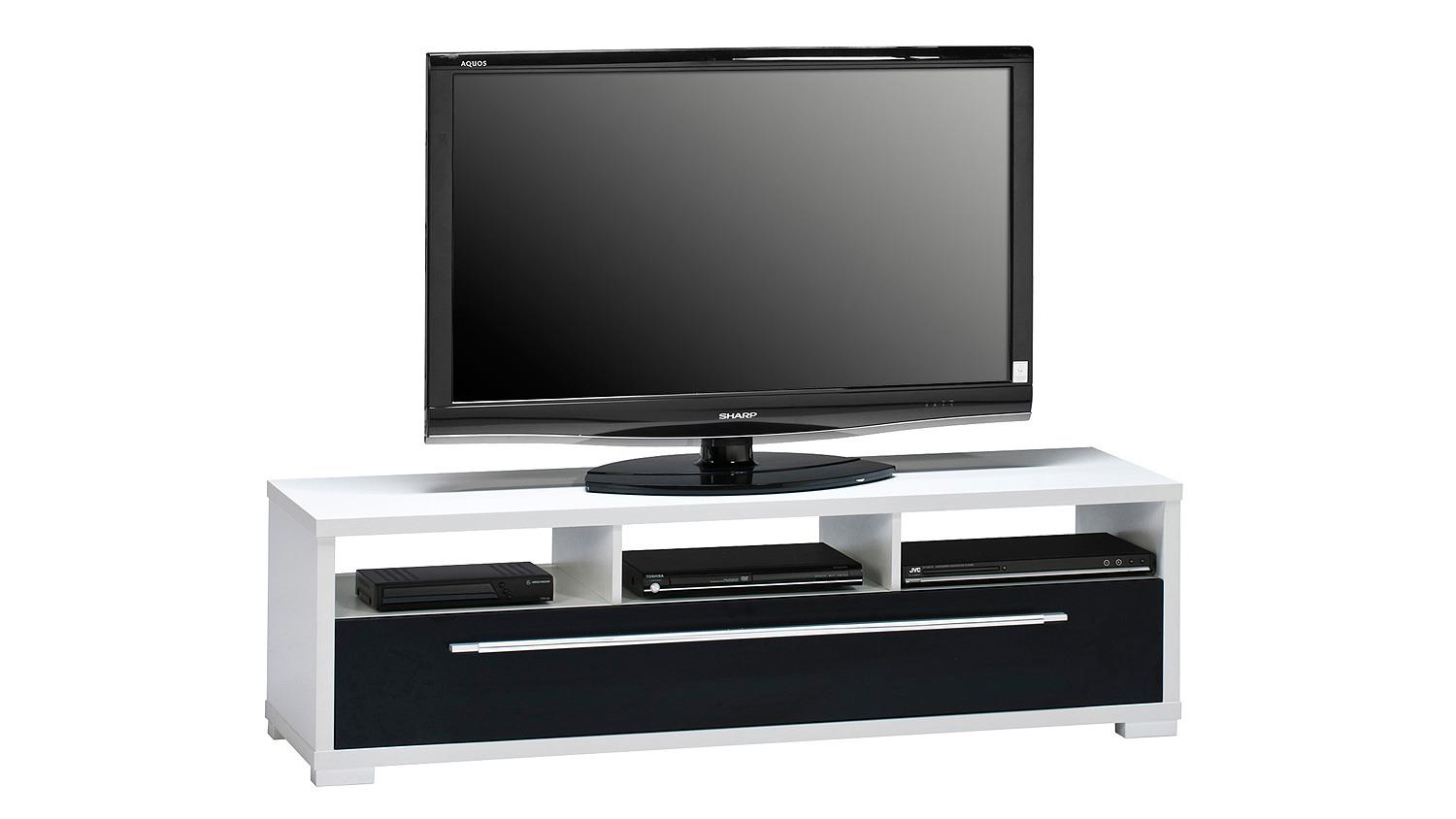 lowboard maja 7645 tv board wei schwarz hochglanz. Black Bedroom Furniture Sets. Home Design Ideas