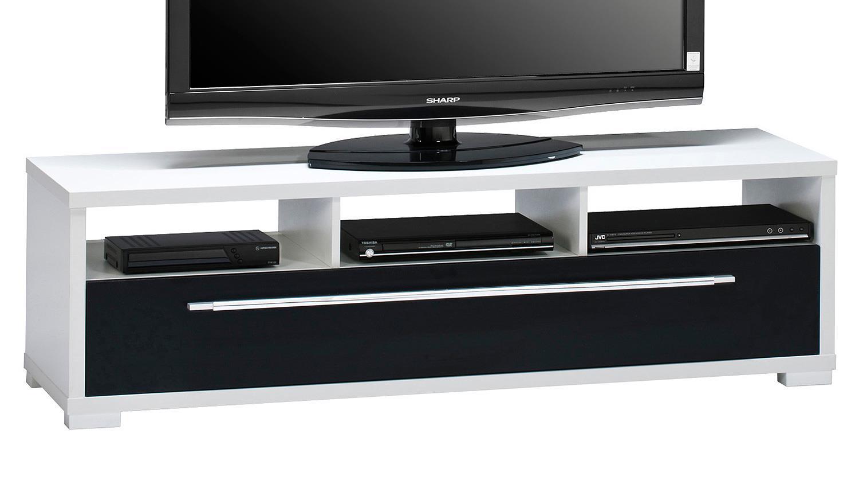 lowboard maja 7645 tv board wei schwarz hochglanz. Black Bedroom Furniture Sets. Home Design Ideas