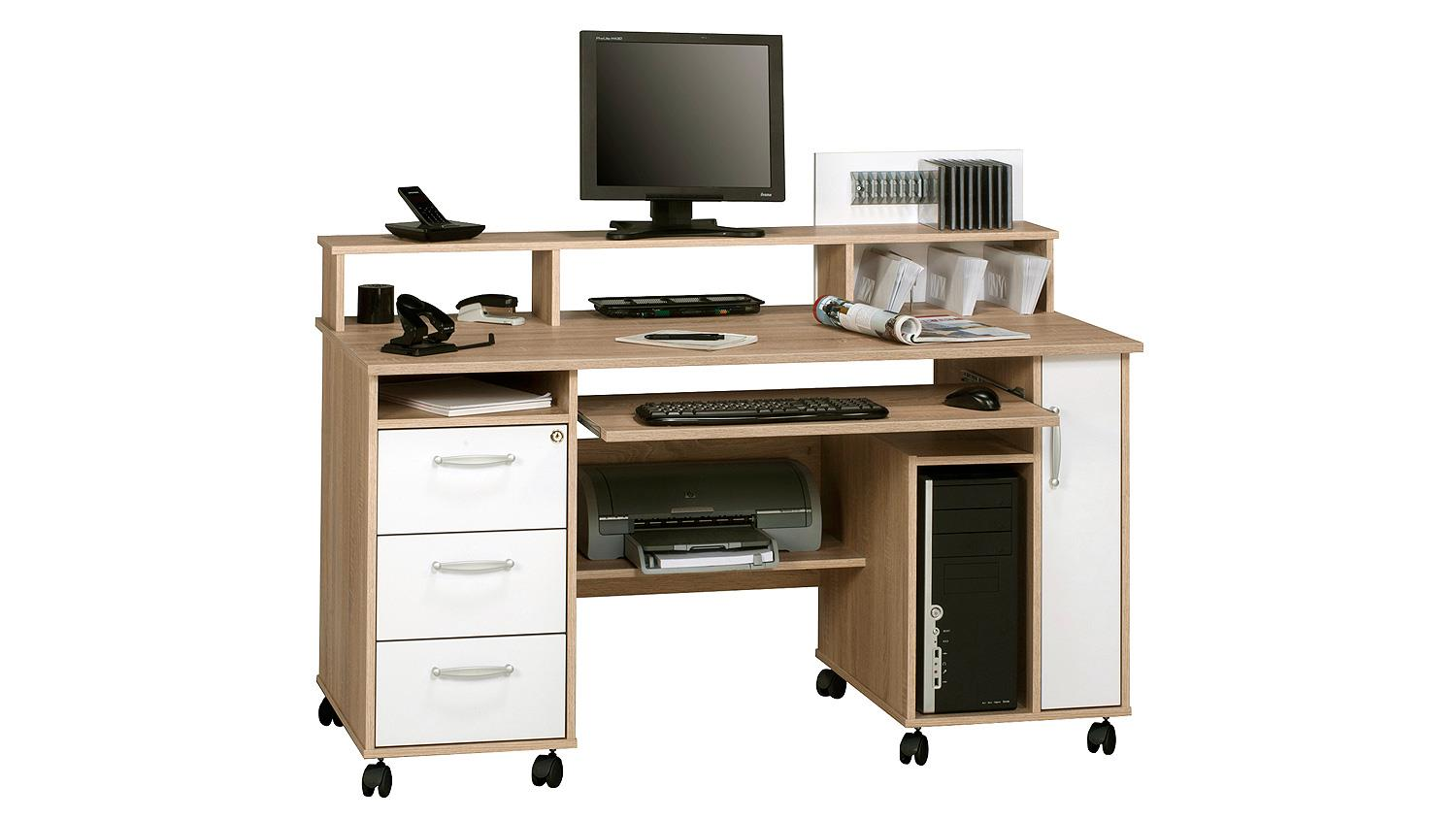schreibtisch maja 9475 computertisch in sonoma eiche wei. Black Bedroom Furniture Sets. Home Design Ideas