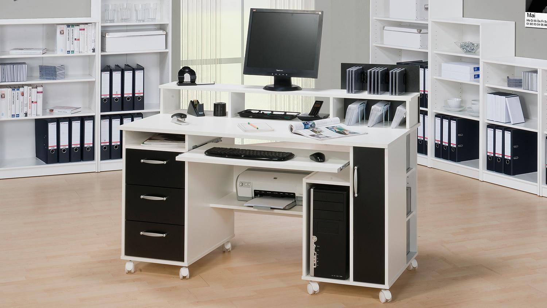 schreibtisch maja 9475 computertisch in wei schwarz. Black Bedroom Furniture Sets. Home Design Ideas