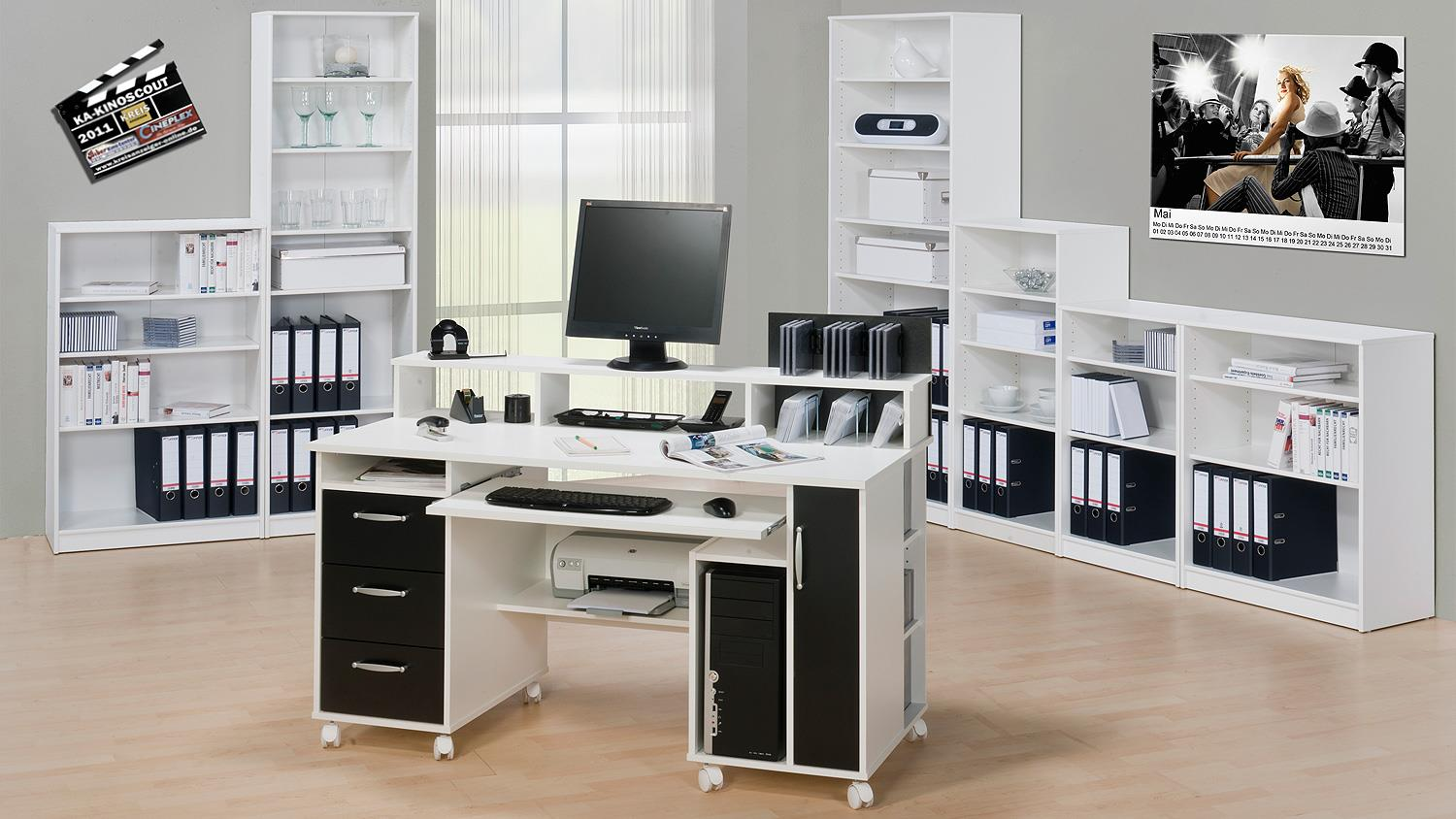 schreibtisch maja 9475 computertisch in wei schwarz. Black Bedroom Furniture Sets. Home Design Ideas