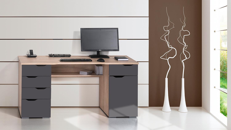 Schreibtisch maja 9539 in sonoma eiche und grau hochglanz for Schreibtisch in grau
