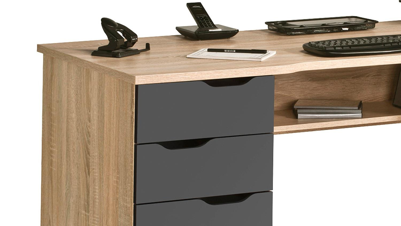 Schreibtisch maja 9539 in sonoma eiche und grau hochglanz for Schreibtisch hochglanz grau