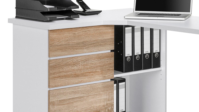 schreibtisch maja 9543 computertisch wei sonoma eiche. Black Bedroom Furniture Sets. Home Design Ideas