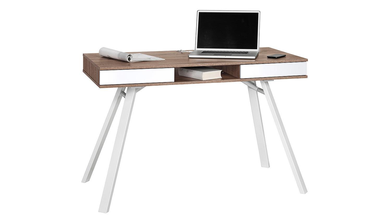 Schreibtisch maja 4087 eiche tr ffel wei hochglanz metall for Schreibtisch metall