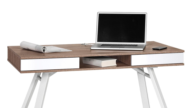 schreibtisch maja 4087 eiche tr ffel wei hochglanz metall. Black Bedroom Furniture Sets. Home Design Ideas