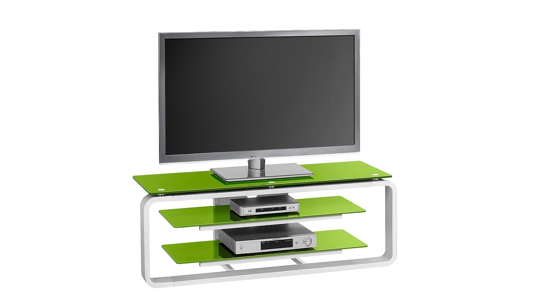 tv board maja 1252 in wei hochglanz und glas gr n. Black Bedroom Furniture Sets. Home Design Ideas