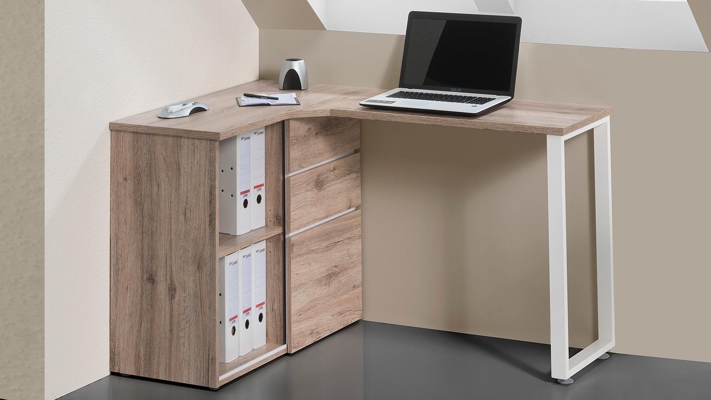 Computertisch maja 4057 schreibtisch in wildeiche wei for Schreibtisch wildeiche