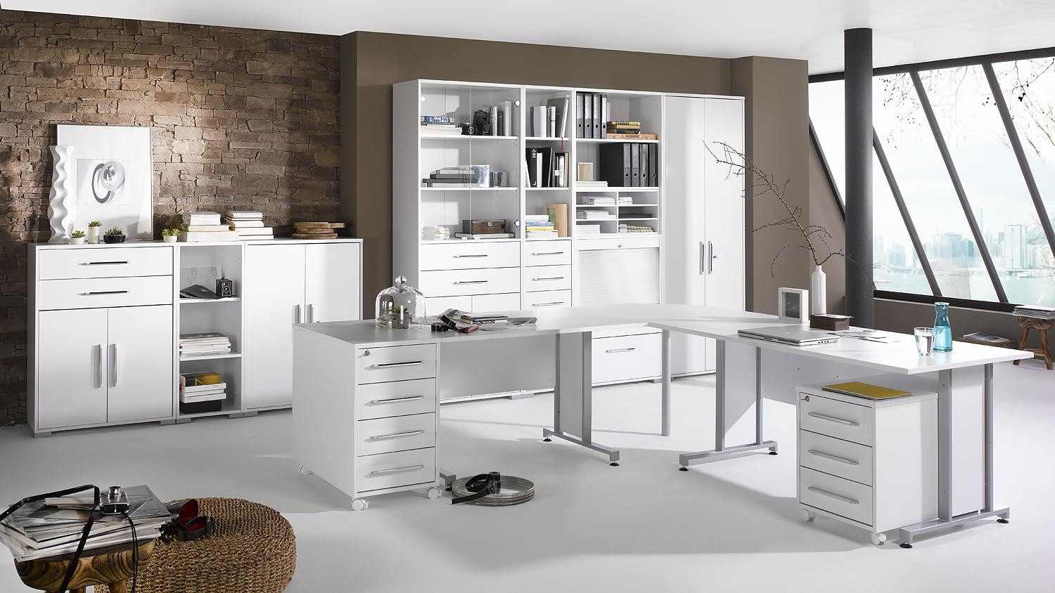b roprogramm system 1208 b ro set in wei hochglanz. Black Bedroom Furniture Sets. Home Design Ideas