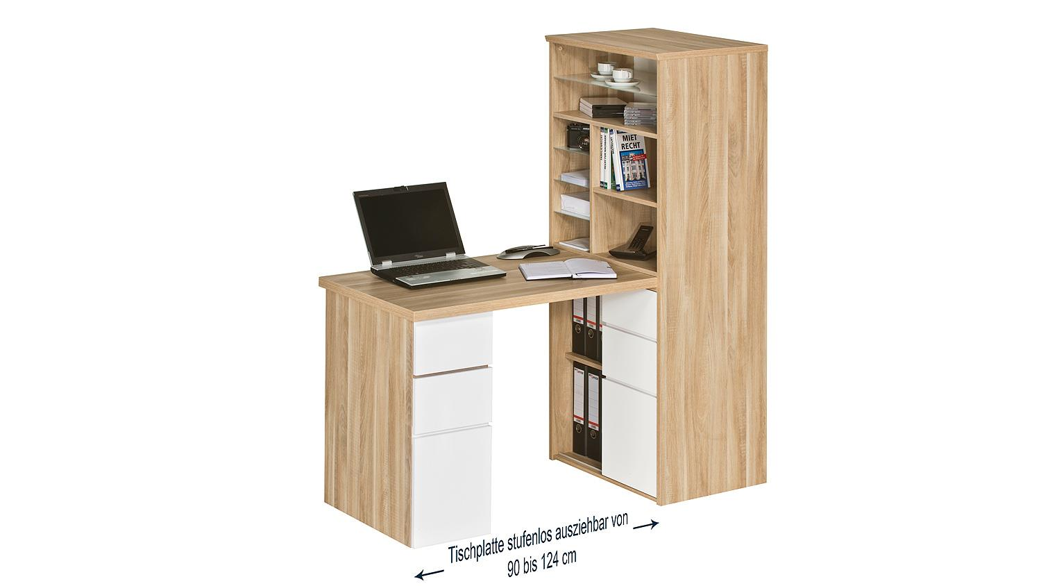 mini office maja 9562 in eiche natur und wei hochglanz. Black Bedroom Furniture Sets. Home Design Ideas