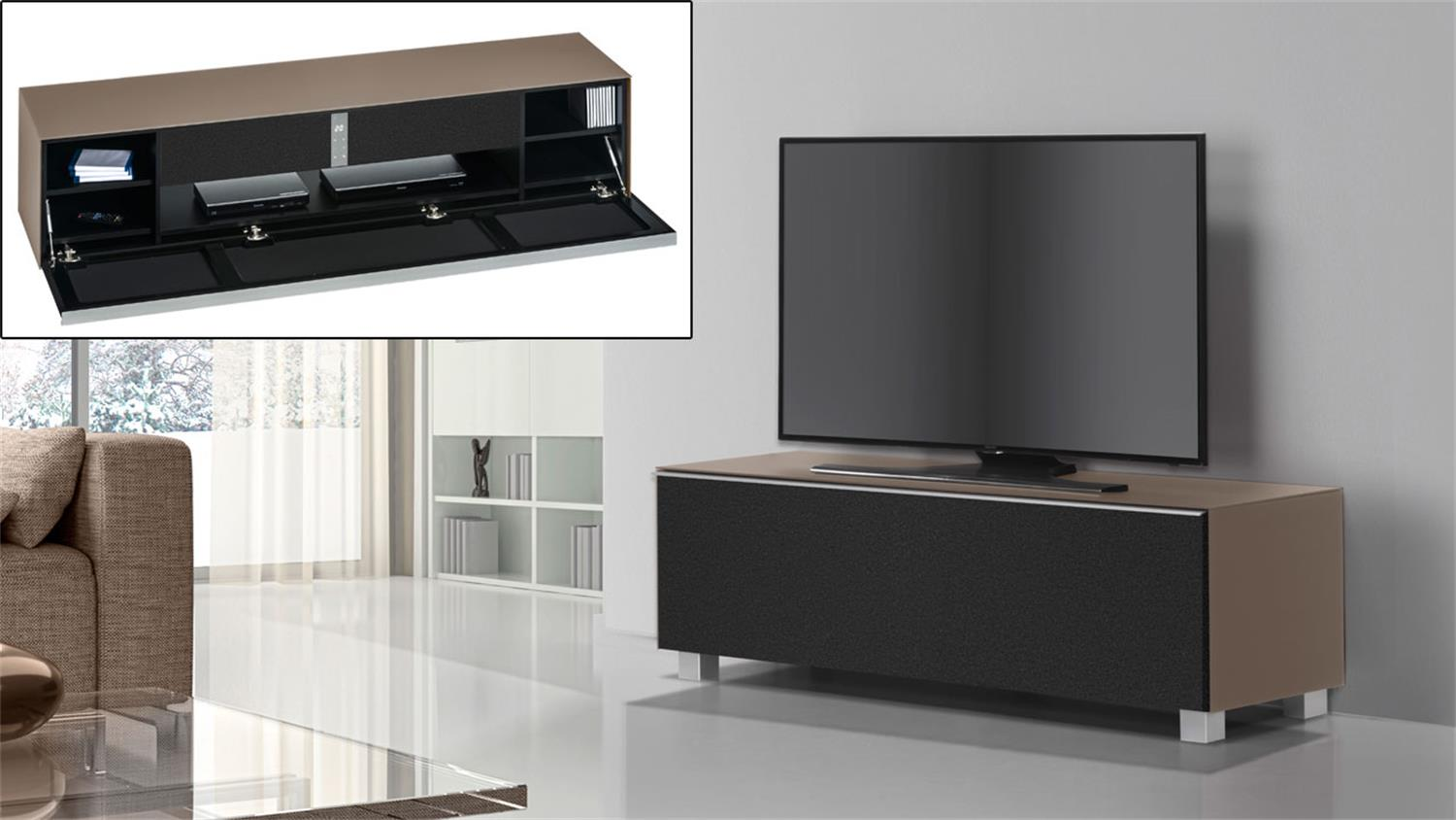 lowboard soundconcept maja glas sand matt mit soundsystem. Black Bedroom Furniture Sets. Home Design Ideas